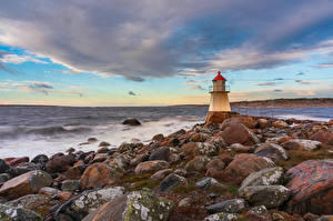 Desktop wallpapers Norway Coast Lighthouses Stone Pikesten Nature