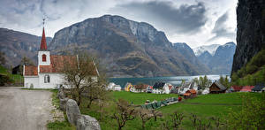 Photo Norway Mountains Church Houses Clouds Undredal, fjord Nature