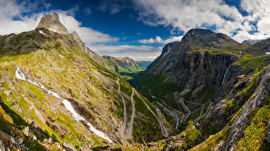 Image Norway Mountains Roads Clouds Valley Trollstigen