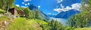 Fonds d'écran Norvège Montagne Panorama Nuage Arbres Fjord Eidsdal Nature