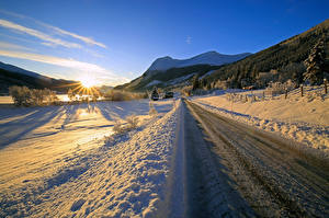 Pictures Norway Winter Roads Mountain Snow Sun  Nature