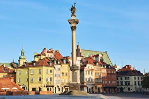Papel de Parede Desktop Polônia Varsóvia Edifício Monumento Praça da cidade Colunas