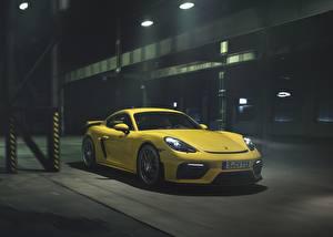 Wallpapers Porsche Yellow Cayman GT4 718 Cars