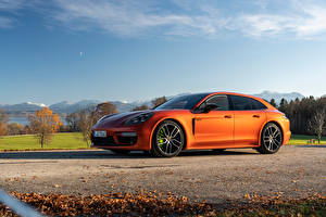 Wallpapers Porsche Orange Metallic Panamera 4 E-Hybrid Sport Turismo SportDesign Package, (971), 2020 Cars pictures images