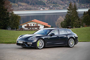 Wallpapers Porsche Metallic Black Side Panamera Turbo S E-Hybrid Sport Turismo, (971), 2020 Cars