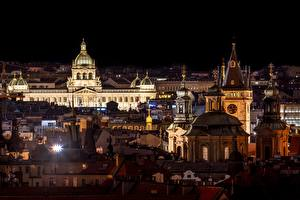 Pictures Prague Czech Republic Houses Church Night