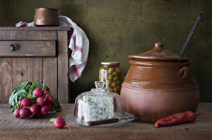 Wallpaper Radishes Cheese Chili pepper Jar Food