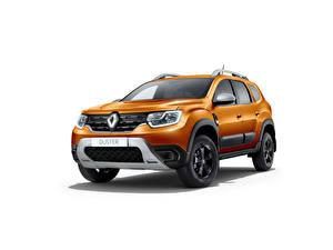 Tapety na pulpit Renault Pomarańczowy Metaliczna Na białym tle Duster, CIS-spec, 2021 Samochody