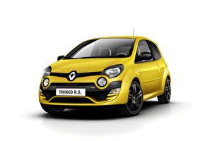 Fotos Renault Gelb Metallisch Weißer hintergrund  automobil