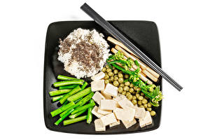 Pictures Rice Vegetables Green peas Cheese White background Chopsticks Food