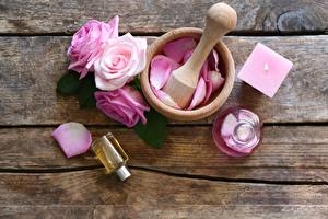 Picture Roses Mortar and pestle Spa Wood planks