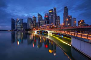 Photo Singapore Building Skyscrapers Night