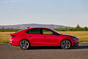 Wallpaper Skoda Red Metallic Side Octavia RS, Worldwide, 2020 automobile
