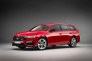 Wallpapers Skoda Estate car Red Metallic Hybrid vehicle Octavia RS iV Combi, 2020 Cars