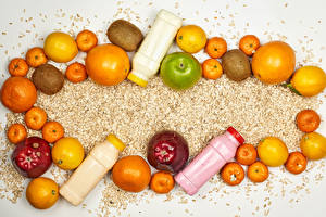 Wallpaper Smoothy Fruit Apples Orange fruit Mandarine Kiwi Pomegranate Lemons Oatmeal Bottles