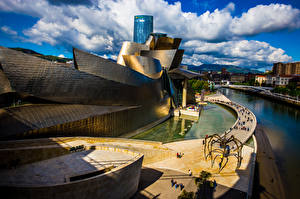 Images Spain Houses Clouds Bilbao Cities