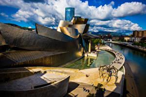 Desktop hintergrundbilder Spanien Haus Wolke Bilbao Städte