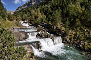 Bakgrundsbilder på skrivbordet Spanien Ett vattenfall Skogar Stenar Ordesa Valley, Huesca, Aragon