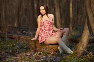 Tapety na pulpit Wiosna Szatenka Sukienka Nogi Kozaczki Siedzi Dziewczyny