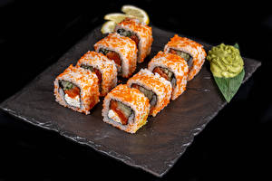Image Sushi Black background Food