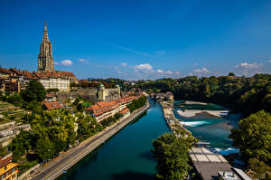 Image Switzerland Bern Houses Rivers Waterfront Aare river Cities