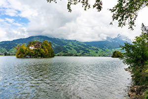 Sfondi desktop Svizzera Lago Isola Schwanau island in the Swiss lake