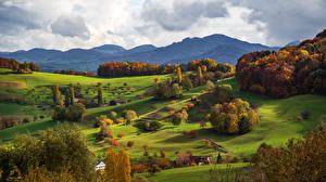 Hintergrundbilder Schweiz Gebirge Herbst Alpen Bäume Basel Natur