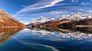 Pictures Switzerland Mountain Lake Alps Clouds Reflected Nature