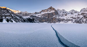 Wallpaper Switzerland Mountains Winter Morning Lake Alps Oeschinensee Nature