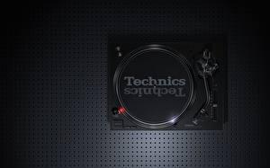 デスクトップの壁紙、、黑、上から、Technics SL-1210 MK7, vinyl player、音楽