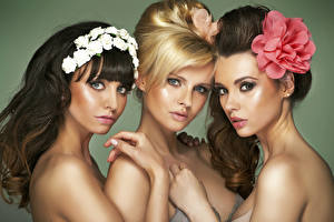Image Three 3 Staring Blonde girl Brunette girl Hands Makeup Girls