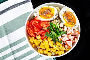 Fotos Tomaten Schinken Mais Ei