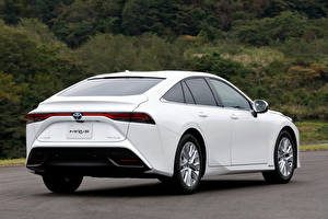 Bilder Toyota Weiß Metallisch Hinten Mirai G Executive Package, JP-spec, 2020 auto
