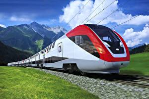 Wallpapers Trains Mountains Motion Clouds