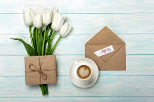 Wallpapers Tulips Coffee Envelope Heart Gifts Flowers