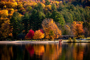 Wallpapers USA Autumn Parks River Trees Vermont Nature