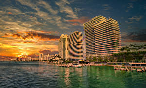 Wallpaper USA Coast Sunrises and sunsets Houses Pier Miami Cities
