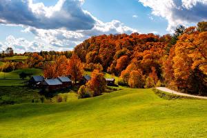Fotos Vereinigte Staaten Gebäude Wälder Herbst Grünland Bäume Woodstock Vermont
