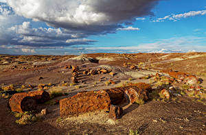 Wallpapers USA Parks Sky Stone Clouds Petrified Forest National Park Nature