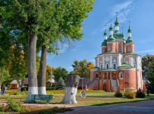 Desktop wallpapers Ukraine Temples Church Bench Trees Gustynsky Monastery, Chernihiv Oblast Cities