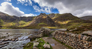 Pictures United Kingdom Stone River Wales Clouds Snowdonia Nature
