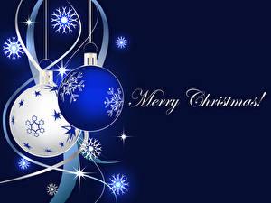 Sfondi desktop Grafica vettoriale Natale Palle Fiocco di neve Parola Inglese