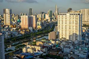 Bilder Vietnam Haus Fluss Ho Chi Minh City