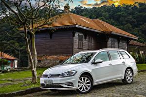 Обои Volkswagen Белых Металлик 2018-20 Golf TSI Variant Latam Автомобили