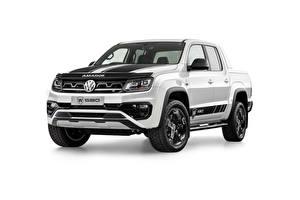 Sfondi desktop Volkswagen Pick-up Bianco Metallizzato Sfondo bianco Amarok W580, AU-spec, 2020 Auto
