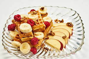 Pictures Waffles Apples Bananas Raspberry Gray background Food