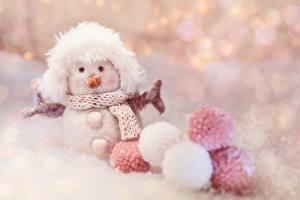 Pictures Winter Toy Snowmen Balls Scarf Blurred background