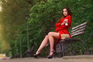 Фото Сидит Ног Фотомодель Скамья Alexander Drobkov-Light, Alisa Skvortsova Девушки