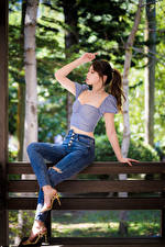 Wallpaper Asian Bench Sitting Jeans Blouse Bokeh Posing female