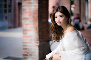 Image Asian Brown haired Staring Bokeh Hands young woman